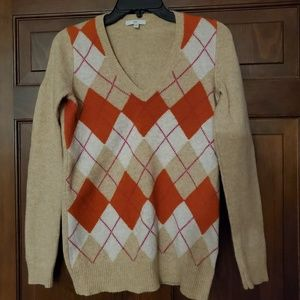 Gap Argyle V-Neck Sweater sz Small